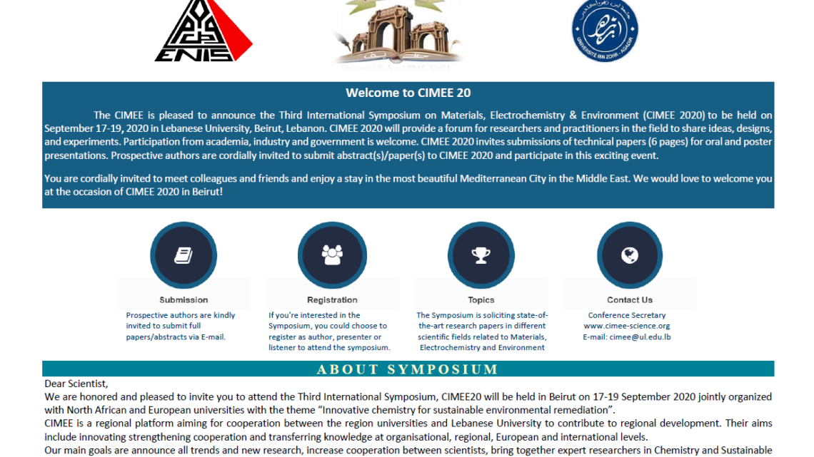 SECOND ANNOUNCEMENT & CALL FOR ABSTRACTS – CIMEE20